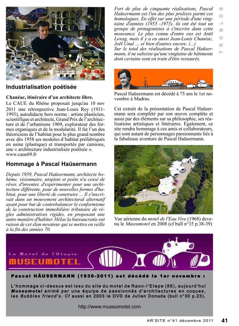 Bulletin Ar'site 41 page 41 Jean-Louis Chanéac et Pascal Hausermann