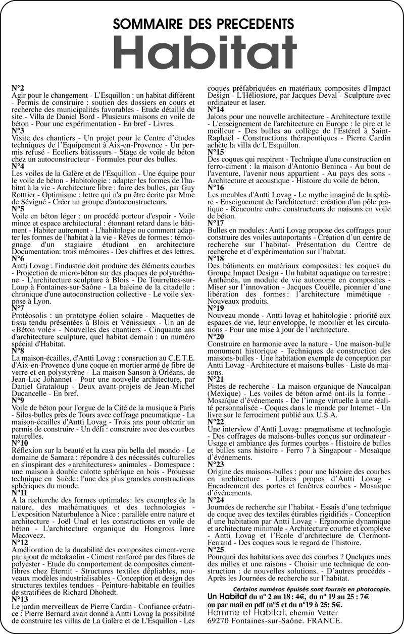 liste sommaires revues Habitat